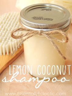 DIY Organic Lemon Coconut Shampoo | www.EssentiallyEclectic.com Shampoo base Stephenson Personal care Organic base 1 C, 1T coconut oil and 20 drops of lemon (or your fav) mix and store!