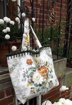 Bag in vintage English Sanderson floral fabric with moss green crochet edging - £24.00