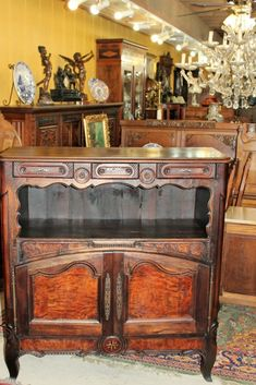 French Antique Burl Walnut Tall Sideboard Cabinet Circa 1780 | Dining Furniture Tall Sideboard, Sideboard Cabinet, Vintage Cabinet, Antique Cabinets, Dining Furniture, French Antiques, Liquor Cabinet, Entryway Tables, Home Decor