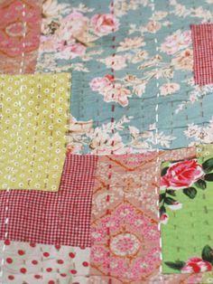 Gorgeous Patchwork Quilt: love these vintage fabrics.