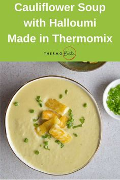 This simple soup is perfect for warming you up on a wintery day! Haloumi Cheese, Halloumi, Soup Recipes, Great Recipes, Cooking Recipes, Recipies, Thermomix Soup, Milk Plant, Cauliflower Cheese