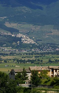 Montefalco, view of Spello and Valle Umbria , province of Perugia , Umbria region. Italy