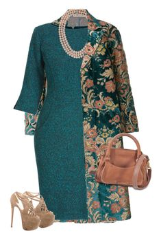 """""""Ermanno Gallamini Oversized Floral Jacquard Coat"""" by bodangela ❤ liked on Polyvore featuring Ermanno Gallamini, Helen McAlinden, Christian Louboutin and See by Chloé"""
