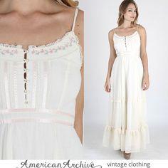 vtg 70s Gunne Sax Dress Boho Wedding Floral Embroidered Cream Hippie Party Maxi ... (2016/04/03)