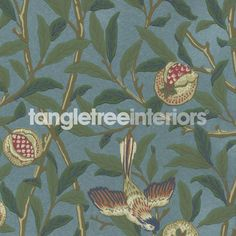 Bird and Pomegranate Wallpaper from Morris and Co - 212538 - Turquoise/ Coral