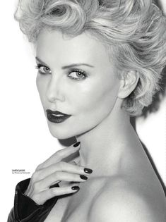 Charlize Theron photographed by Terry Richardson for Esquire UK, June MAKE UP, Hair. Charlize Theron photographed by Terry Richardson for Esquire UK, June Styling by Leslie Fremar. Manicure by April Foreman. Makeup by Pati . Terry Richardson Photography, Esquire Uk, Atomic Blonde, Black And White Portraits, Timeless Beauty, Beauty Queens, Hair Beauty, Celebs, Glamour