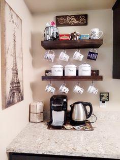 Rustic Mug Rack With Shelf Wall Mounted Coffee Cup Holder image 2 Coffee Mug Wall Rack, Coffee Mug Holder, Mug Rack, Coffee Nook, Coffee Coffee, Coffee Mug Display, Espresso Coffee, Coffee Drinks, Coffee Tables