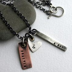Forever & A Day Handcrafted Mixed Metal Necklace by SToNZ $135 stamped metal blanks: http://www.ecrafty.com/casearch.aspx?SearchTerm=stamping+blank