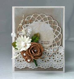 lovely card by Sherry Wright - I need to try this... I have the dies for those rolled roses.