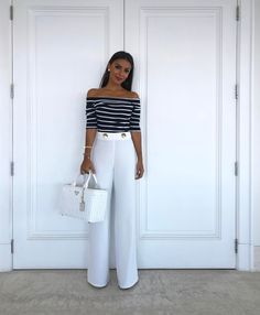 Trendy Wide Leg Palazzo Pants Outfit 33 Visit the post for more. Look Fashion, Fashion Outfits, Womens Fashion, Classy Outfits, Cute Outfits, Stylish Office Wear, Marlene Hose, Mein Style, Wide Pants