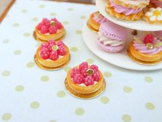 Raspberry Tartlet - 12th Scale Miniature Food. $20.00, via Etsy.