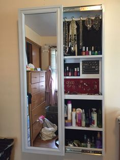 Diy Sliding Mirror Jewelry Cabinet From A Wall Behind Upstairs Bathroom Door