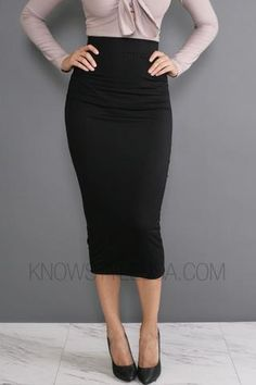 Midi Skirt Elastic Waistline 95% Rayon 5% Spandex Hand Wash Cold Do Not Bleach   - Model is wearing a size SMALL- Model body measurements: Height 5'4 / Weight 115%2...