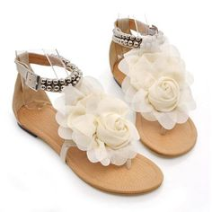 $13.94 Sweet Women's Sandals With Flower and Beading Design