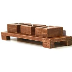 Centerpiece wood Candle Holder, Wedding candle holders wooden, Tea Light Rustic Look. €27.00, via Etsy.