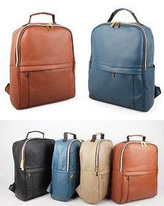 New Faux Leather Backpack Woman Backpack Rucksack School Bag BookBag 4 Colors