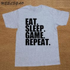 WEELSGAO Funny Summer Style Eat Sleep Game Repeat Mens Gamer Funny T Shirt Custom Pattern cotton man T-shirt casual //Price: $18.70 & FREE Shipping //  #gamer #gaming #playinggames #online #onlinegaming #gamerguy