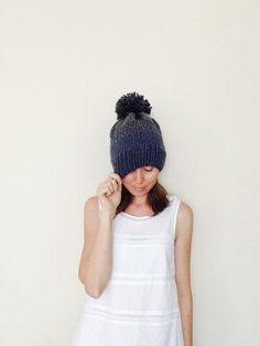 Chunky Grey With Denim Fair Isle Knit Hat / Pom Pom Knit Grey Hat / Woman Knit Beanie / Winter Accessories / Handmade / Ready To Ship $30.00