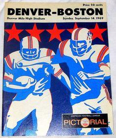 1969 DENVER BRONCOS vs BOSTON PATRIOTS AFL GAME PROGRAM - BEARS STADIUM - VG