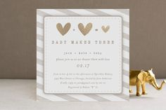 Baby Makes Three Baby Shower Invitation | Minted.com gold foil