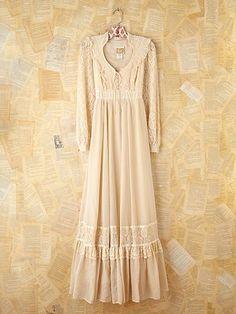 Free People Free People Vintage 1970s Gunne Sax Creme Dress