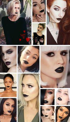 Batom preto: Inspirações e dicas de marcas para comprar o seu / Black lipstick: Inspirations to fall and brands.