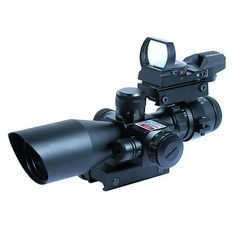 2.5-10X40 Tactical Rifle Scope w/ Red Laser & Holographic Green / Red Dot Sight