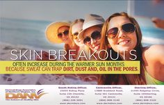 Learn about preventing breakouts during summer by calling at (866) 808-3320. #dermatologiststerling # skincare