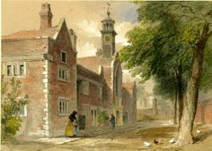 """""""Fishmongers' Almshouses near Newington Church"""" (with a man and woman standing in front of the houses and hens foraging in the foreground on the right) (1846) By John Wykeham Archer, British artist, engraver and writer"""
