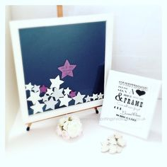 ❤️ Drop top #wedding guest book ❤️ You are buying, •One large drop top guest book frame in White approx. 44cm X 44cm •Navy Blue. •40 4cm and 30 6cm painted wood drop stars... #etsy #guestbook #engaged #weddingideas #rustic