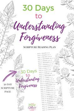Bible Verses about Forgiveness - 30 Day Bible Reading Plan The Holy Mess Bible Study Plans, Bible Study For Kids, Bible Study Journal, Prayer Journals, Art Journaling, Bible Verses About Forgiveness, Bible Studies For Beginners, Scripture Reading, Scripture Verses