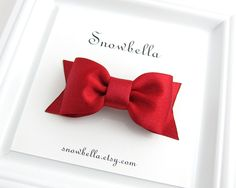 Sparkle Satin Red Bow Hair Clip Valentines Day Hair Bow by Snowbella on Etsy
