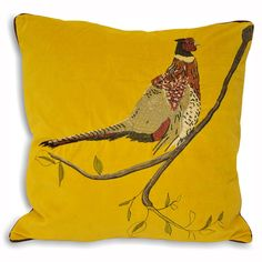 Paoletti Hunter Velvet Pheasant Cushion Cover, Mustard, 45 x 45 Cm