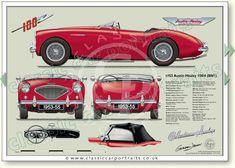 Page 016A3 Austin Healey 100M LHD 1956 classic sports car portrait print
