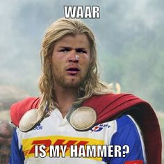 Waar is my hammer? Thor - the new Duane Vermeulen Share the Shit South Africans Say with and your friends! Duane Vermeulen, South Afrika, Afrikaanse Quotes, Funny Bunnies, Thor, Africans, Inspirational Quotes, Sayings, Memes