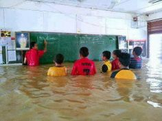 Typhoon season and the dedicated still come to school.
