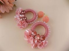 Camile Salmon PInk Hoop Earrings | Etsy Soutache Earrings, Etsy Earrings, Earrings Handmade, Crochet Earrings, Hoop Earrings, Imitation Jewelry, Flower Earrings, Luxury Jewelry, Statement Earrings