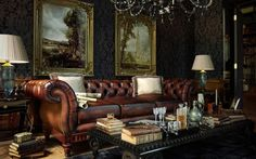 Classic leather Chesterfield sofa - The Versatility and Allure of Leather Seating Cool Room Designs, English Interior, Cigar Room, Living Spaces, Living Room, Room Pictures, Decoration Design, New Wall, Cool Rooms