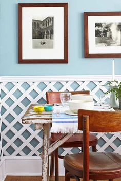 Photo: Laura Moss | thisoldhouse.com | from 10 Uses for Lattice~Cut panels where the lattice intersects to a typical wainscot height (about 36 inches). Set lattice on top of base molding and attach to the walls with nails and panel adhesive. Cap with rabbeted molding.