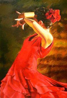 Alexey Slusar 1961- Ukrainian painter - FLAMENCO DANCER