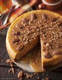 Pumpkin Cheesecake with Salted Caramel and Cinnamon Pecans