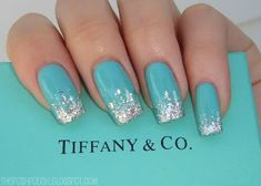 Tiffany Blue with glitter tips