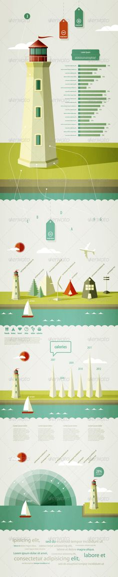 Infographics elements with a lighthouse  - Infographics  #infographic #graphic #design #graphicdesign #web #graph #stats #chart #statistic #pie #vector #eps #illustrator