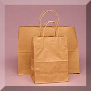 Recycled Kraft Handle Bags    Twisted brown upright handle shopping bags made of natural Kraft. Click here to see picture of all sizes.  Our bags are made of 100% post consumer papers to create the most ecological bag you can buy.