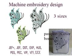 Machine embroidery designs. butterfly  Passport cover In the