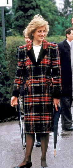 The late Princess Diana in plaid