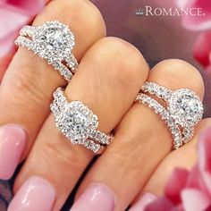 Well, HALO beautiful! Which is your favorite? #LoveMyRomance #diamonds #romancebridal #engagementrings #weloveourcarats #bling #allthoserings #haloring