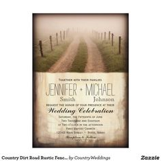 Shop Country Dirt Road Rustic Fence Post Wedding Invite created by CountryWeddings. Wooden Fence Posts, Metal Fence, Aluminum Fence, Fence Art, Rustic Fence, Pallet Fence, Fence Doors, Concrete Fence, Bamboo Fence