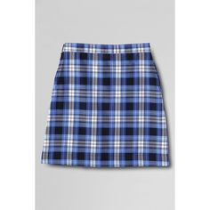 Lands' End Plaid A-line Skirt ($45) ❤ liked on Polyvore featuring skirts, bottoms, faldas, clear blue plaid, button skirt, draped skirt, blue a line skirt, below the knee skirts and clear skirts