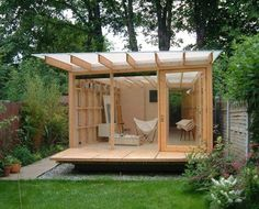 Garden Shed Design Backyard Office Ideas Shed Office, Backyard Office, Backyard Studio, Garden Office, Cozy Backyard, Outdoor Office, Backyard Retreat, Modern Backyard, Zen Home Office